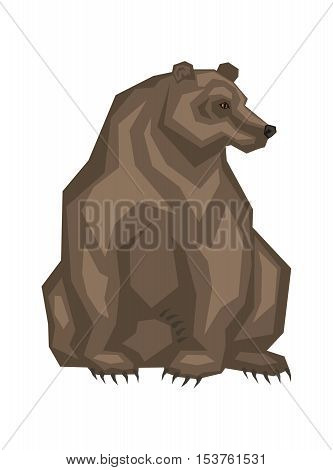 Brown grizzly bear. Vector image of a predatory animal. Isolated on a white background.