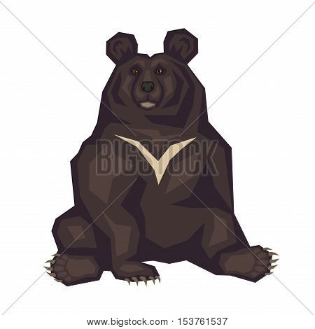 Himalayan black bear. Vector image of a predatory animal. Isolated on a white background.