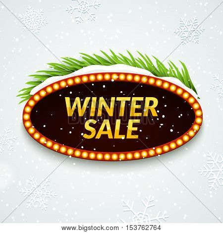 Big sale winter sale sign design template. Xmas season clearance discount. Market promotion advertising with fir branches.