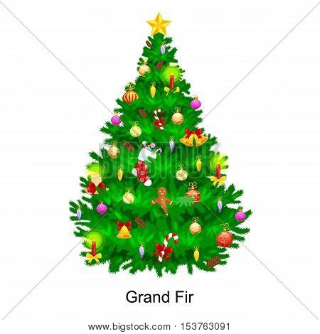 holiday christmas tree isolated decoration for celebrate xmass with ball gold bells candles stars lights candy and gingerbread men.