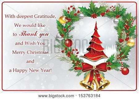 Thank you business greeting card for Christmas and New Year. Contains a thank you message from company to its stuff and clients, Christmas tree, Christmas baubles, jingle-bells. Print colors used.