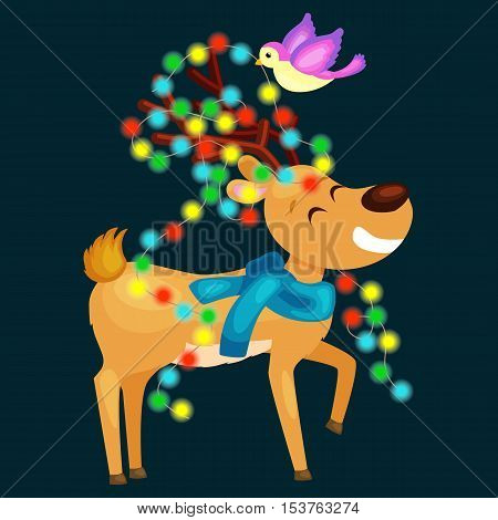happy smiling reindeer on the eve of New Year and Christmas lights in the horns with decorations like a Christmas tree wearing a scarf. The bird decorates deer glowing lights vector illustration
