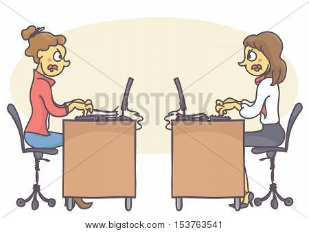 Two female coworkers in office having a conflict, not talking to each other