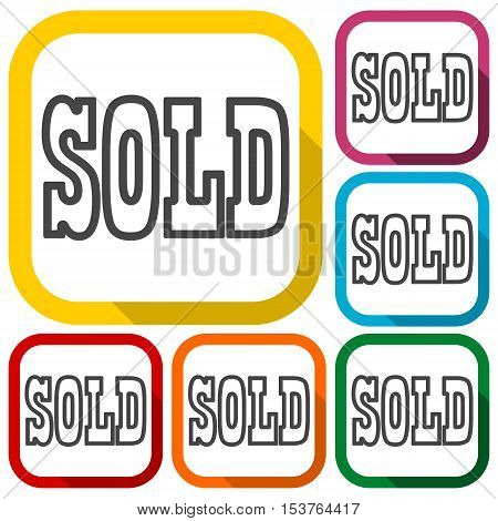 Vector Sold sign, icons set on white background