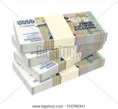 Icelandic krona bills isolated on white background. 3D illustration.