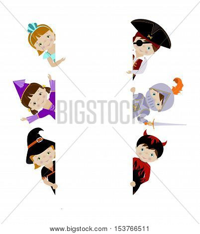 Cute kids in fancy dresses peeping behind blank white placard, cartoon vector illustration, vertical borders.