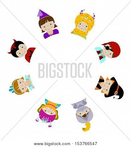 Cute kids in fancy dresses peeping behind blank white round placard, cartoon vector illustration, circle border.