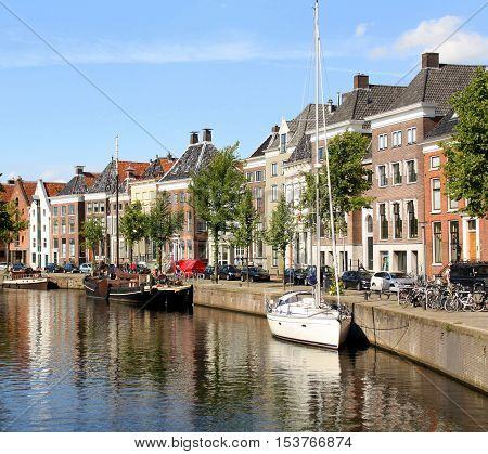 Groningen The Netherlands. August-05-2015. Historic houses and boats on the Hoge der Aa in the city of Groningen.