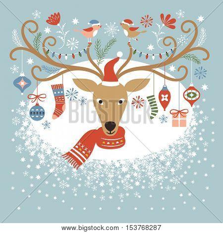 Christmas card, Christmas deer