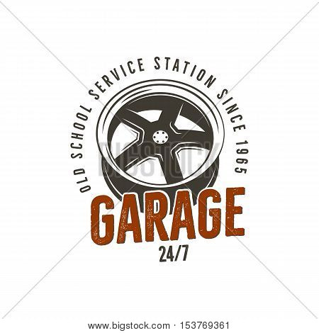 Garage old school service station label. Vintage tee design graphics, complete auto repair typography print. Custom t-shirt stamp, teeshirt graphic. Use as emblem, logo on web. Vector artwork.
