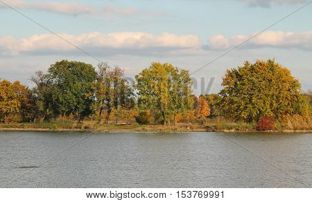 green and yellow trees on the bank of a pond in autumn enlightened with evening sun in Poodri, Czech Republic