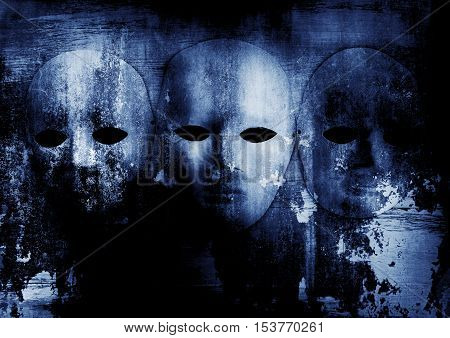 Creepy white mask on grunge background,alloween concept and book cover ideas
