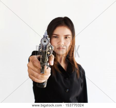 Asian business woman with gun in white background