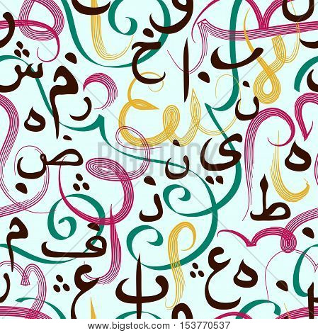 Colorful seamless pattern with Arabic calligraphy. Design concept for muslim community festival Eid Al Fitr(Eid Mubarak)(Translation: thank god)