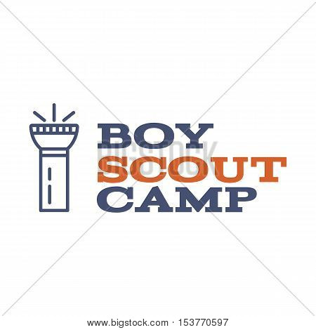Boy scout camp logo design with typography and travel element - flashlight. Vector text. Hiking trail, backpacking symbols in retro color design. Nice for prints, tee design.