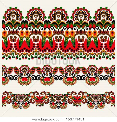 ethnic floral paisley stripe pattern, border set, ukrainian tribal ornament for print or embroidery ribbon, or for the design of polygraphy or web