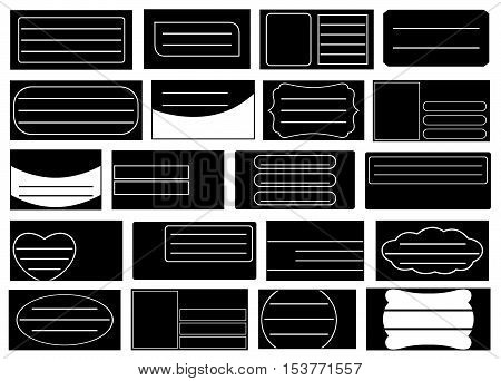 Set of different school notebook labels isolated on white