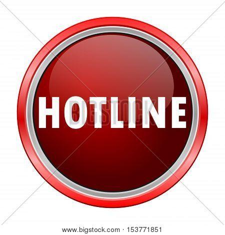 Hotline round metallic red button, vector icon