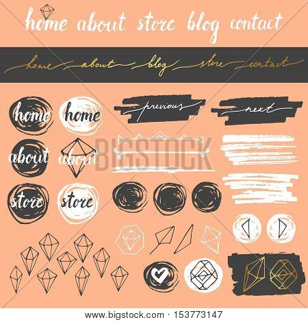 Vector cute hand drawn blog, website elements. Menu buttons. Dividers. Brush strokes. Modern calligraphic elements.