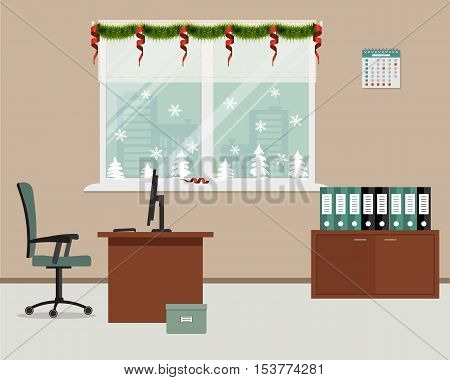 New Year in the office. Window, decorated with Christmas decoration. There is a workplace for office worker in the picture. There is a table, a chair, computer and other objects on a window background