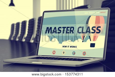 Modern Conference Room with Laptop Showing Landing Page with Text Master Class. Closeup View. Blurred Image with Selective focus. 3D Illustration.