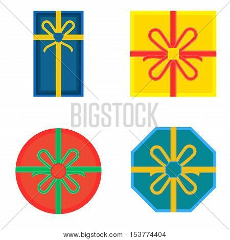 Bright Colours Gift Boxes With Bows And Ribbons Flat Vector Image Isolated On White, Overhead View.