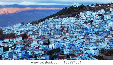 Medina of Chefchaouen, Morocco. It is the Chief town of the province of the same name and is noted for its buildings in shades of blue.