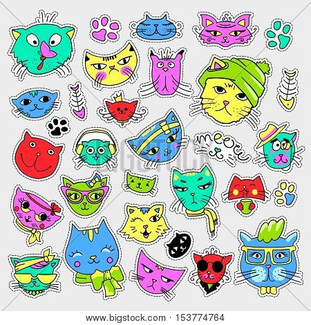 Pop art set with fashion patch badges. Cats and kittens Stickers, pins, patches, quirky, handwritten notes collection. 80s-90s style. Trend. Vector illustration isolated. Vector clip art.