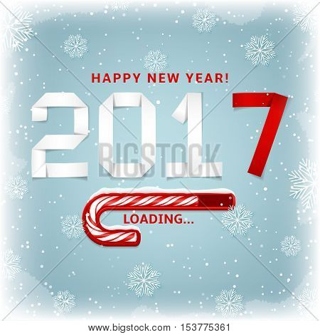 Loading bar of 2017 year in the form of Christmas candy. Happy New Year gift card. Vector illustration. Loading bar of 2017 year in the form of Christmas candy. Festive banner with snow and snowflakes. Numerals from paper in origami style.