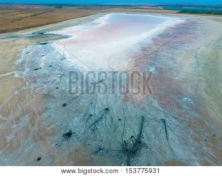 Top View Of The Salt Lake Mud Sources. External Similarity With Craters. Mud Healing Springs