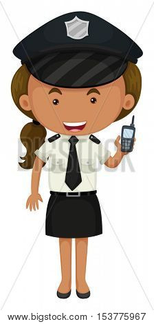 Policewoman in black and white uniform illustration
