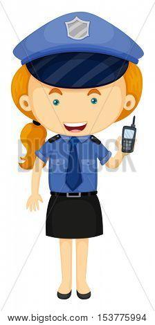 Policewoman in blue uniform illustration