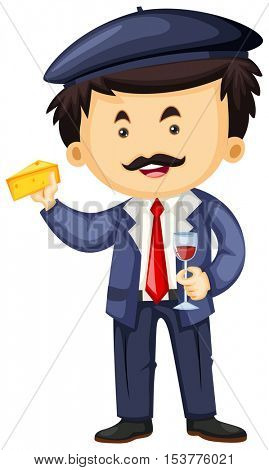Frenchman with cheese and wine illustration