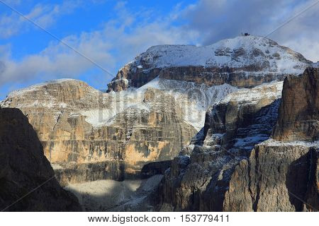 Piz Boe (3152m), view of top of Sella gruppe or Gruppo di Sella, South Tirol, Dolomites mountains, Italy