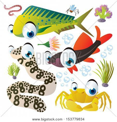 cute vector flat style illustration of sea life animals and fish. Funny collection set of moray eel, crab, coryphaena