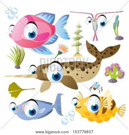 cute vector flat style illustration of sea life animals and fish. Funny collection set of narwhal, plankton, unicorn fish, puffer