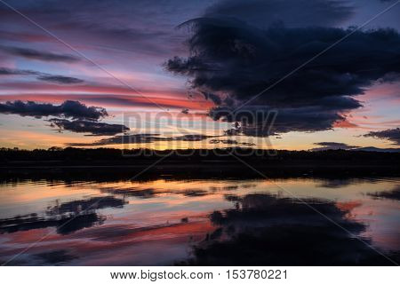 Colorful cloudy sunset at Koprinka Dam, Bulgaria