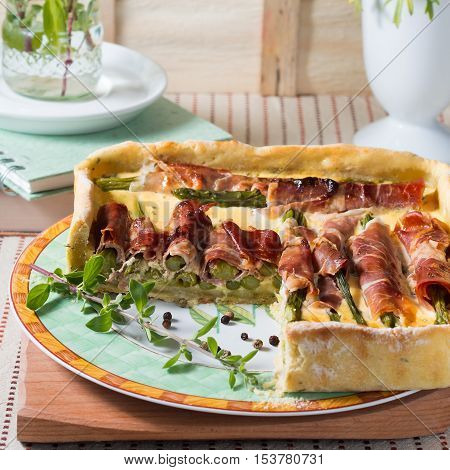 Square Quiche With Asparagus, Ham And Herbs