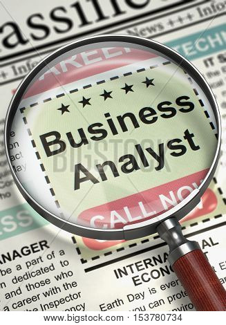 Business Analyst. Newspaper with the Classified Advertisement of Hiring. Business Analyst - Classified Ad in Newspaper. Hiring Concept. Selective focus. 3D Illustration.