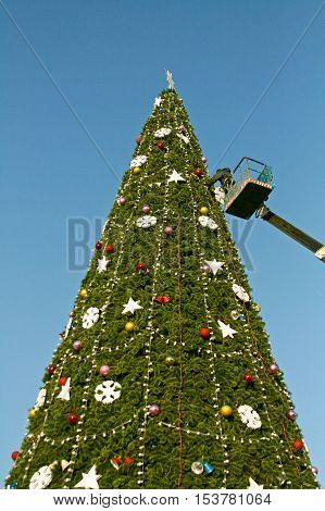 Volgograd Russia - December 20 2008: A worker decorates a Christmas tree in Volgograd