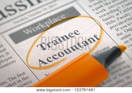 Trainee Accountant - Advertisements and Classifieds Ads for Vacancy in Newspaper, Circled with a Orange Highlighter. Blurred Image with Selective focus. Job Seeking Concept. 3D Render.