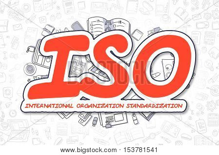 Business Illustration of ISO - International Organization Standardization. Doodle Red Word Hand Drawn Cartoon Design Elements. ISO - International Organization Standardization Concept.
