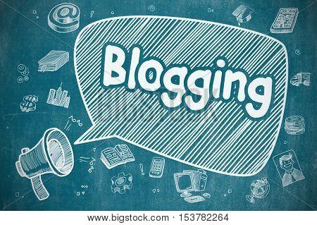 Blogging on Speech Bubble. Cartoon Illustration of Screaming Megaphone. Advertising Concept. Shrieking Megaphone with Inscription Blogging on Speech Bubble. Doodle Illustration. Business Concept.