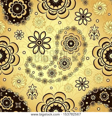 Gold and brown seamless pattern with shiny gradient vintage flowers and paisley vector