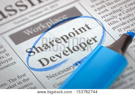 A Newspaper Column in the Classifieds with the Small Ads of Job Search of Sharepoint Developer, Circled with a Blue Highlighter. Blurred Image with Selective focus. Job Search Concept. 3D Rendering.
