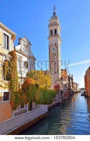 facade of the church of San Giorgio dei Greci with its campanile, Venice, Italy