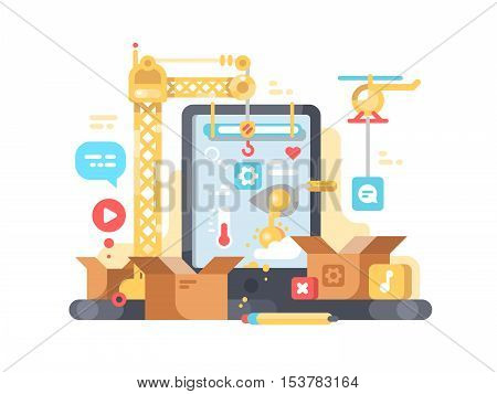 Creation and development of app. Web design and programming. Vector illustration
