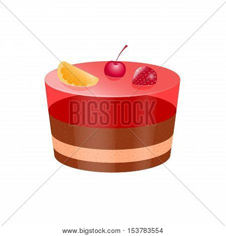 Vector illustration icon cake with jelly and fruit berries isolated on a white background. Delicious cake, for mobile applications, advertising, postcards app
