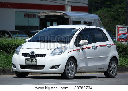 CHIANGMAI THAILAND - OCTOBER 8 2016: Private Eco car toyota Yaris. Photo at road no 121 about 8 km from downtown Chiangmai thailand.