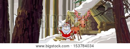 cartoon joyous Santa Claus standing with a moose in the winter woods near the hut